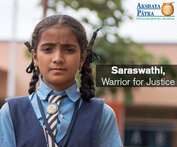 Hi! I'm Saraswathi, an Akshaya Patra beneficiary studying in Std VI in Kannavi Honnapura Higher Primary School, Hubballi! I want to be a good, honest lawyer. I will not accept bribes and will stand for justice. I will remain true to my profession. – Saraswathi, Hubballi, Karnataka