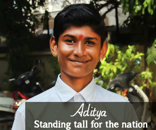 """I study in Std VIII in Vadodara and want to join the armed forces. I like playing sports – athletics, cricket and football, and enjoy participating in competitions. My favourite subject is Math."" – Aditya, Vadodara, Gujarat"