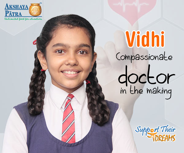 """I want to become a doctor. I love participating in dancing, drawing and elocution competitions. Among Akshaya Patra's dishes served at school, I like soybean and Dal the most."" – Vidhi Rathod, Surat, Gujarat"