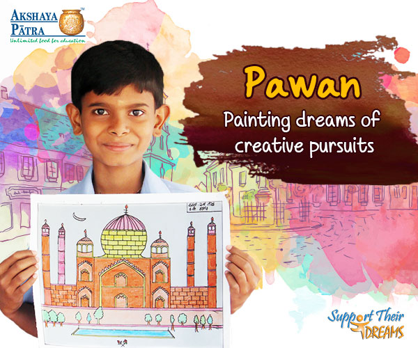"""I want to grow up to become an artist. I like drawing images of gods and goddesses, Ganesha being my favourite. Among the dishes served by Akshaya Patra at school, I like Sambar and Rice, and Pulao the most!"" – Pawan, Mysuru, Karnataka"