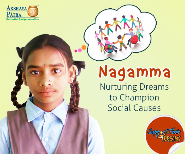 """My favourite subject is Maths and I like playing sports like Kho-kho and throw ball. I like all the meals served by Akshaya Patra and my all-time favourite is rice and sambar."" – Nagamma, Tarabanahalli, Karnataka"