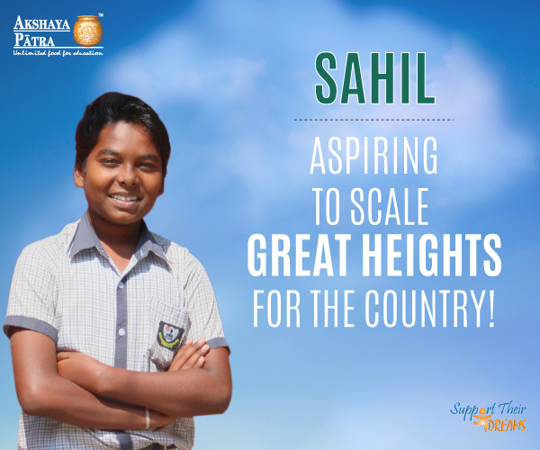 """I want to be an Indian Air Force pilot when I grow up. Pilots don't have a fear of heights, which is something I admire a lot. My favourite subjects are Science, Marathi and Geography. I like Akshaya Patra's mid-day meals, particularly the mixed veg subzi and cabbage subzi they serve."" – Sahil, Nagpur, Maharashtra"