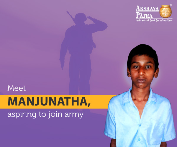 """Hello, I study in GHPS, Doddabettahalli, in Std 8. I want to join army. My favourite is rice and sambar."" – Manjunatha, Doddabettahalli, Karnataka"