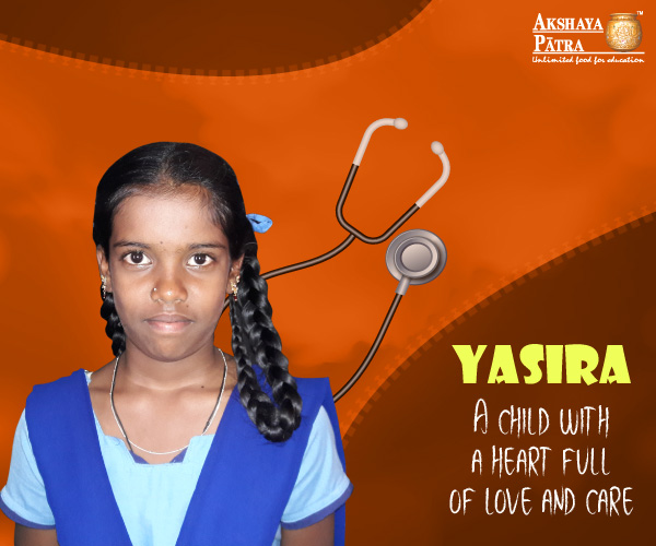 """Hello, I study in GHPS, Doddabettahalli, in Std 7. I want to become a doctor. My favourite is rice and sambar."" – Yasira, Doddabettahalli, Karnataka"