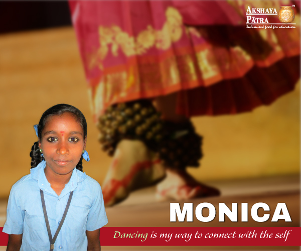 """I study in Standard 7 at GKHPS, Bengaluru, Karnataka. I am passionate about dancing. I have been relishing the food served by Akshaya Patra since 7 years. My parents say that my health has improved after having the lunch at school."" – Monica, Bengaluru."