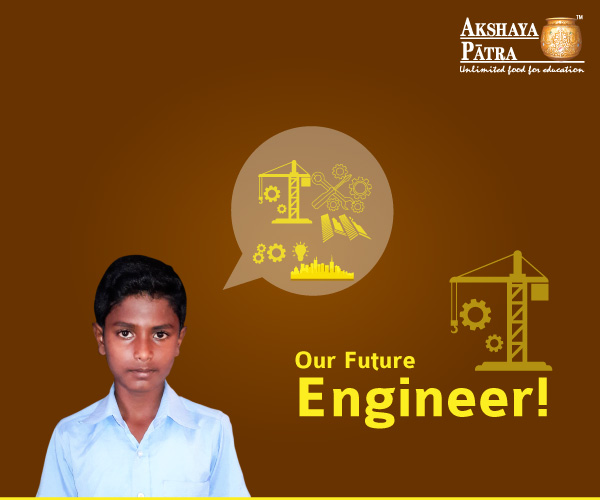 """Hello, I study in GHPS, Doddabettahalli, in Std 8. I want to become an engineer. My favourite is pulav."" – Manikanta, Doddabettahalli, Karnataka"