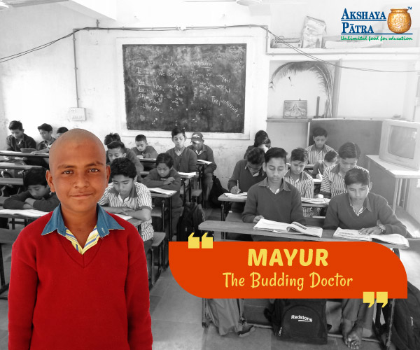 """Hello, I study in Golvanta Primary School, Gujarat, in Std 8. I wish to become a Doctor. I love Dal-Dhokli served by Akshaya Patra at school. It is hot and tasty too!"" – Mayur, Golvanta, Gujarat"