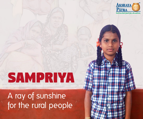 """Hello, I am Sampriya. I study in GHPS Taranagar, Bellary, Karnataka. I want to become a District Collector and help rural people. I love Akshaya Patra's school meals, specially rice and sambar."""