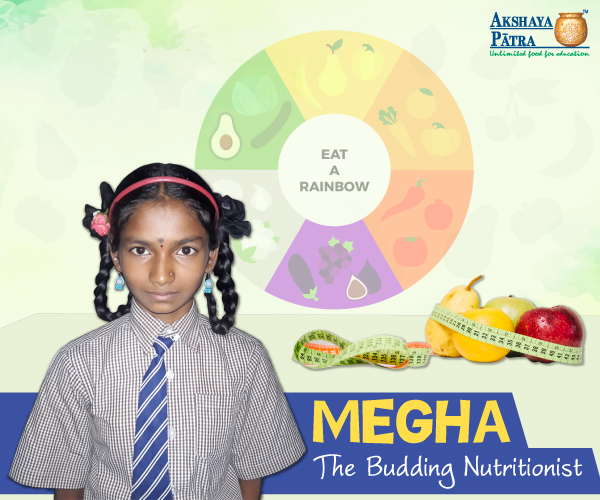 """Hello everybody, I study in Standard 7 at GMHPS - Bengaluru. I thank Akshaya Patra from the bottom of my heart for providing me nutritious mid-day meals regularly. The school meals have strengthened my immune system."" – Megha."