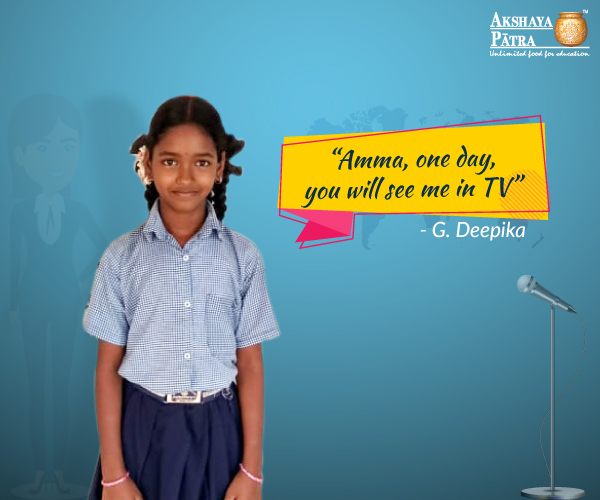 G. Deepika, an Akshaya Patra beneficiary is a student of Standard VII from UPS Rajampet, Sangareddy District, Telangana. She aspires to be a television anchor. Deepika along with her sister and friends relishes the meals provided by Akshaya Patra. They look forward to lunch time every day.