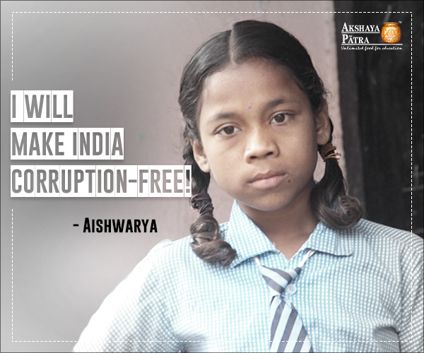 Aishwarya is a 4th standard student studying in M.P. Prathamika Patashala in Telangana. Her father is an auto driver and her mother is a house-wife. She dreams of becoming a District Collector one day to make India corruption-free. She is confident that if her parents could beat all odds to get her an admission in a school, she can study well to make her dreams come true and make her parents proud.